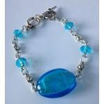 Schakel armband aquablauw met zilverkleur