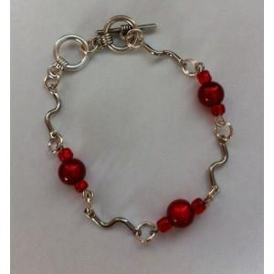 Schakel armband rood