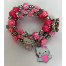 Spiraal kinder armband Hello Kitty roze tinten