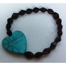 Armband zwart met turquoise hart
