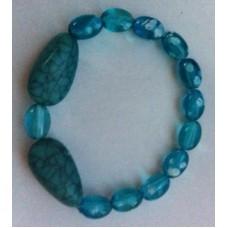 Armband aquablauw met 2 turquoise druppels