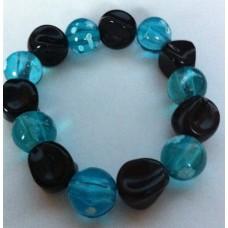 Armband zwart / aquablauw