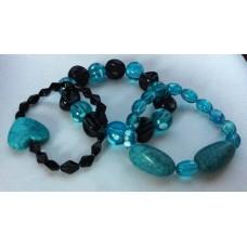 3-delig armband setje in aquablauw / zwart