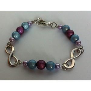 Armband lila, lichtblauw met zilverkleur