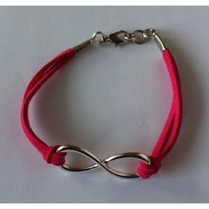 Infinity (oneindigheid) armband fel roze/zilver