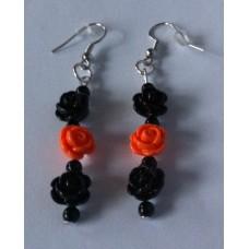 Oorbellen roosjes zwart oranje