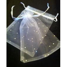 Cadeau zakje organza met glitter 17 x 12 cm