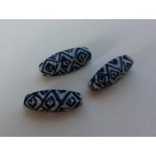 Delfts blauwe kraal staafje 20 x 6 mm