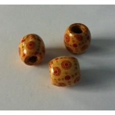 Houten kraal 16 x 12 mm beige rood gemeleerd 5 (12 stuks)