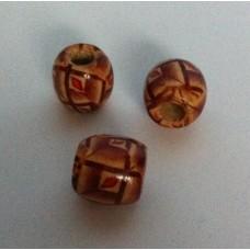 Houten kraal 16 x 12 mm beige bruin rood 9 (12 stuks)