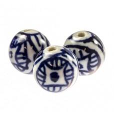 Delfts blauwe ronde kraal  12 mm 2