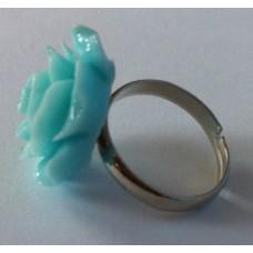 Ring verstelbaar met turquoise  roos