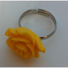 Ring verstelbaar met gele roos