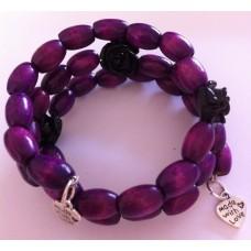 Zelf-maak-pakket spiraal armband paars met roosjes en bedels