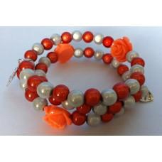 Spiraal armband oranje / wit met oranje roosjes